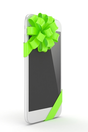 green bow: White phone with green bow. 3D rendering.