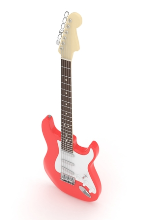 Isolated red electric guitar on white background.  Musical instrument for rock, blues, metal songs. 3D rendering.