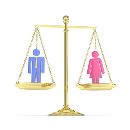 Geïsoleerde ouderwetse gouden panschaal met de mens en vrouw op witte achtergrond. Genderongelijkheid. Gelijkheid van geslachten. Juridische kwesties. Kleurrijk model. 3D-rendering.