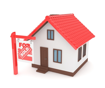 home buyer: Isolated model of house with sign for sale sold. Concept of real estate, new apartment and moving to a new house. 3D rendering. Stock Photo