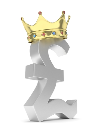 nothern ireland: Isolated silver pound sign with golden crown on white background. British currency. Concept of investment, european market, savings. Power, luxury and wealth. Great Britain, Nothern Ireland. Crown with gems. 3D rendering. Stock Photo