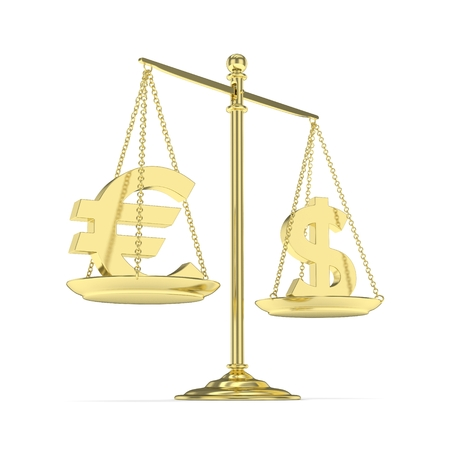 stability: Isolated golden scales with dollar and euro currency. American and european finance. Measuring of market stability. 3D rendering. Stock Photo