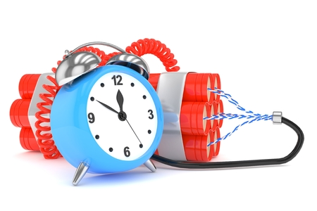 Alarm clock with dynamite. Dangerous weapon. Blue alarm clock with bundle of dynamiye sticks. Concept of deadline, violence, lack of patience. 3D rendering.