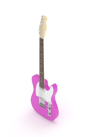 Isolated purple electric guitar on white background.  Musical instrument for rock, blues, metal songs. 3D rendering.