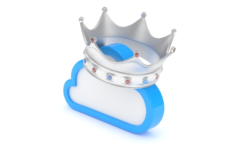 Cloud with silver crown on white background. Model of best network, database, cloud storage. Royal technology. 3D rendering.