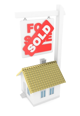 Isolated model of house with sign for sale sold. Concept of real estate, new apartment and moving to a new house. Golden roof. 3D rendering.