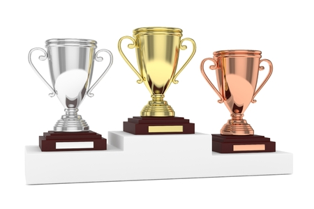 Three cups on white pedestal. 3D rendering. Stock Photo