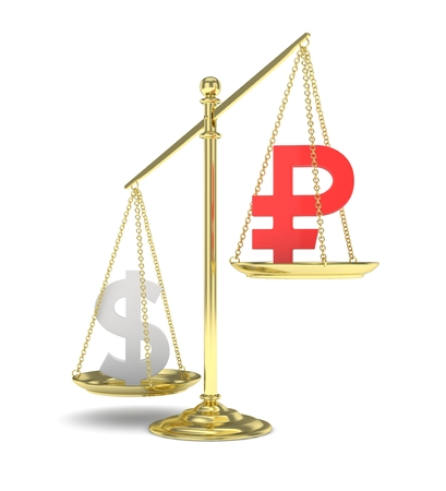 rouble: Isolated old fashioned pan scale with dollar and ruble on white background. American and russian currency. Dollar is heavier. Silver usd, red rouble. 3D rendering.