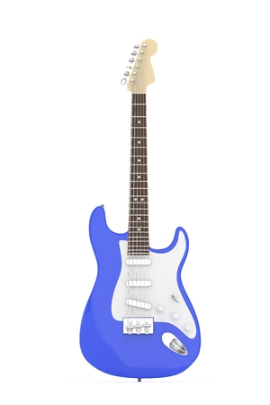 electric blue: Isolated blue electric guitar on white background.  Musical instrument for rock, blues, metal songs. 3D rendering.