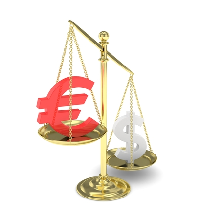 vs: Isolated old fashioned pan scale with dollar and euro on white background. American and european currency. Dollar is heavier. Silver usd, red euro. 3D rendering.