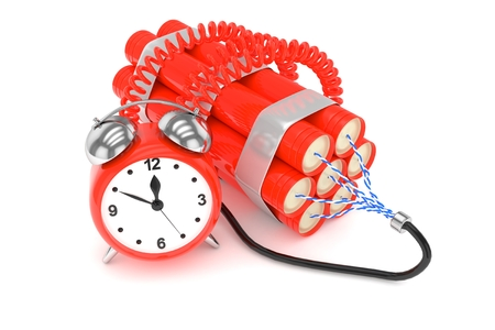 fire wire: Alarm clock with dynamite. Dangerous weapon. Red alarm clock with bundle of dynamiye sticks. Concept of deadline, violence, lack of patience. 3D rendering.