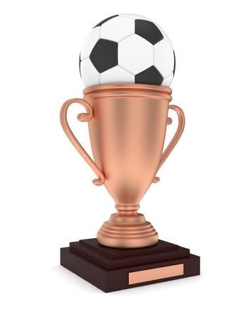bronzed: Bronze cup and ball on white background. 3D rendering. Stock Photo
