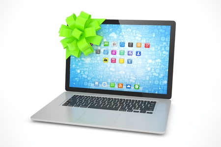 tied: Tied laptop with green bow on white background. Modern present or gift for birthday, holiday, christmas. 3D rendering.
