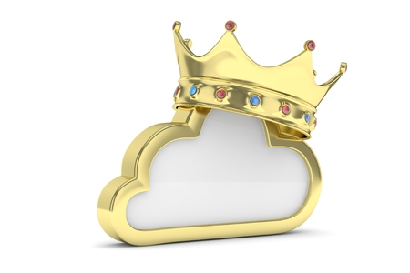 pc: Isolated golden cloud icon with crown and gems on white background. Symbol of communication, network and technology. Broadband. Online database. 3D rendering.