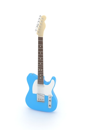 Isolated blue electric guitar on white background.  Musical instrument for rock, blues, metal songs. 3D rendering.