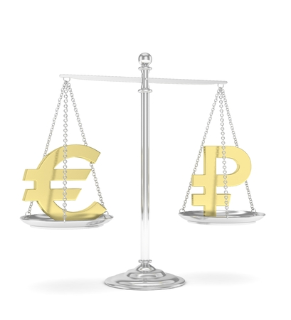 Isolated silver scales with golden euro and ruble currency. Russian and european finance. Measuring of market stability. 3D rendering.