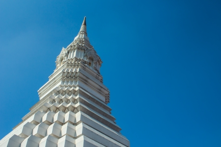 White pagoda on blue sky, Wat Paknam, Thailand photo
