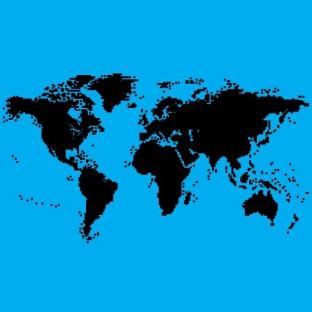 8bit: Mappa del mondo in 8bit Vettoriali