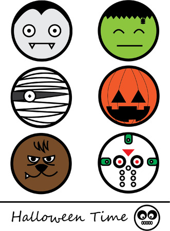 Happy halloween time, Cute monster face  Vector