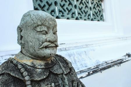 ballast: Chinese stone ballast in Thai Temple Stock Photo