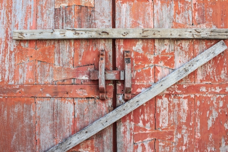 Old wooden red door photo