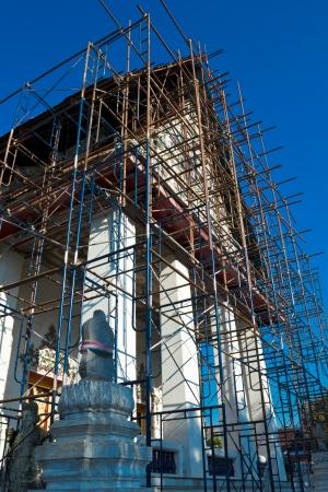 Thai church under renovation, Wat Nang Chee Chotikaram, Bangkok  photo