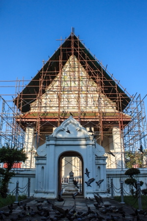 Thai church under renovation, Wat Nang Chee Chotikaram photo