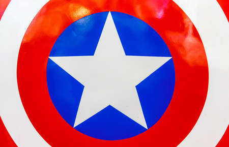 Logo of Captain America on shield in The Superhero Past-Present Fair was held between 18-27 July 2014.