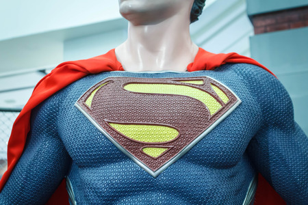Logo of Superman on model chest in The Superhero Past-Present Fair was held between 18-27 July 2014. Editorial