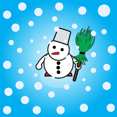 Snowman with falling snow Vector
