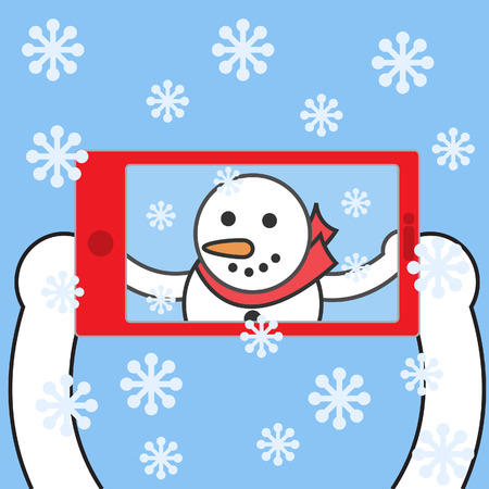 Snowman taking selfie. Vector