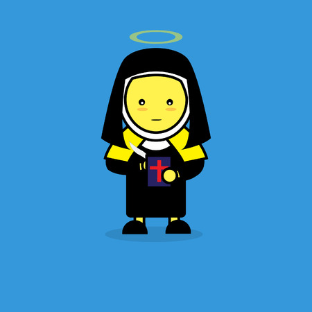 all saints day: Woman in St. Teresa of Avila suit for All Saints Day. Illustration