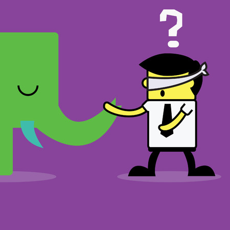 Blind man and Elephant. Vector