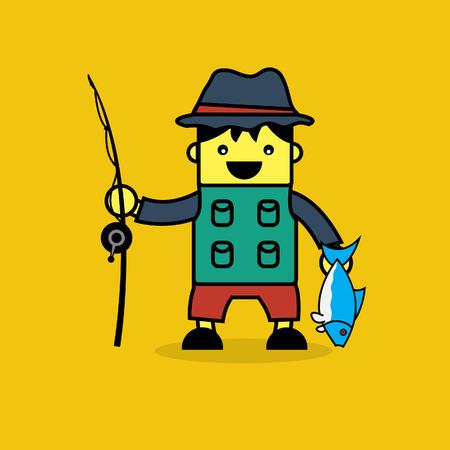 fisher man: Cute fisherman cartoon.
