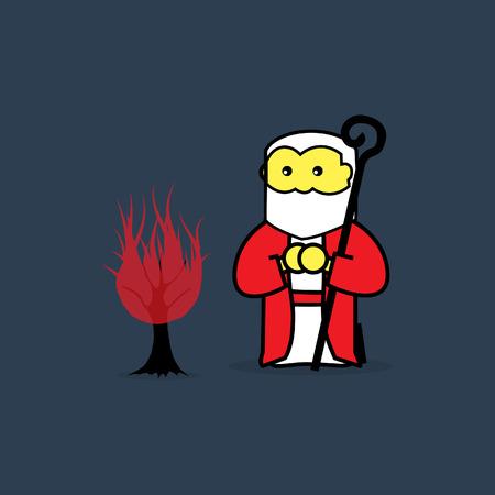 Moses and the burning bush. Illustration