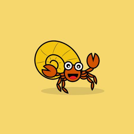 Cute hermit crab cartoon.