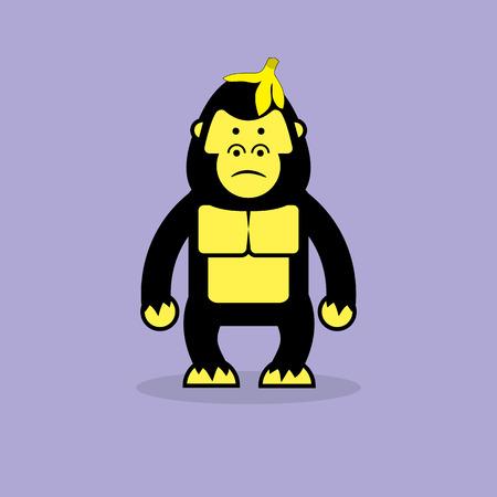cartoon king: Cute gorilla cartoon.