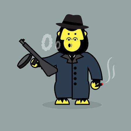 mobster: Cute gorilla mobster. Illustration