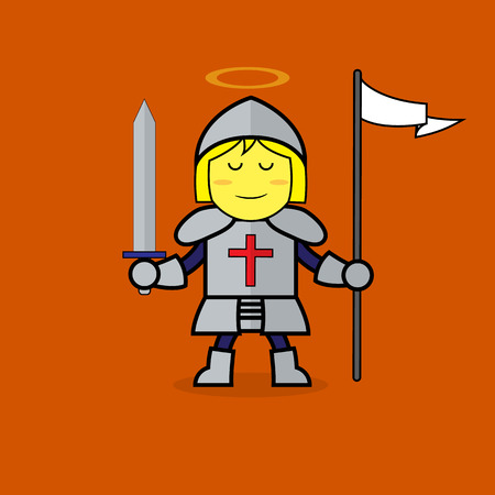 all saints day: Woman in St. Joan of Arc suit for All Saints Day. Illustration