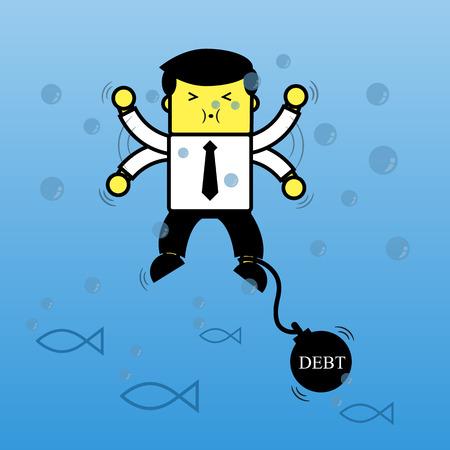 Businessman drowning In debt. Ilustração