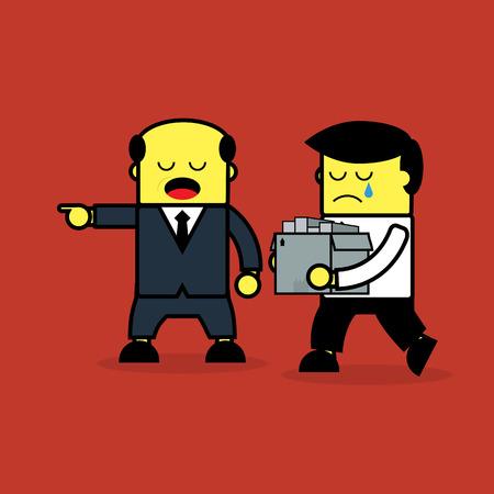 dismiss: Businessman dismiss from work. Illustration