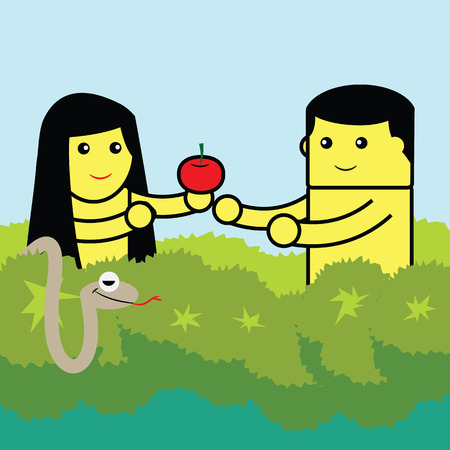 Adam and Eve holding apple. Illustration