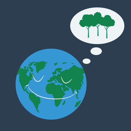 Earth dreaming about trees. Vector