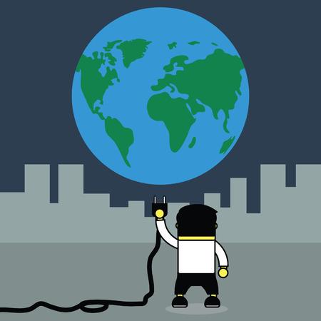 plugging: Man plugging earth.