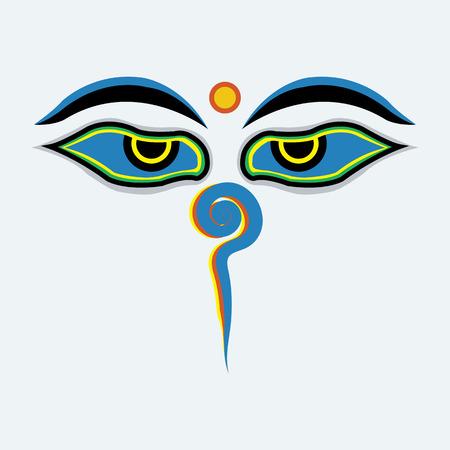 shrine: Buddha eyes.
