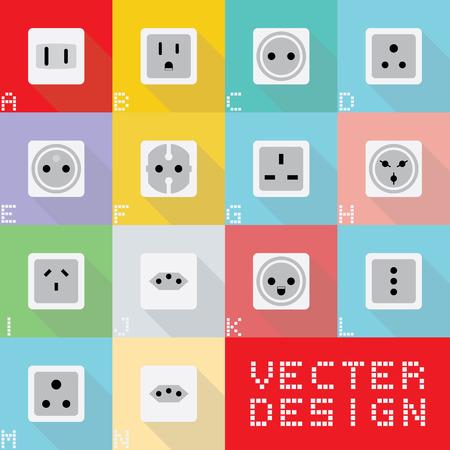 World electric socket types. Reklamní fotografie - 39991291