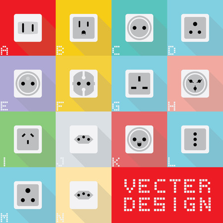 outlet: World electric socket types.