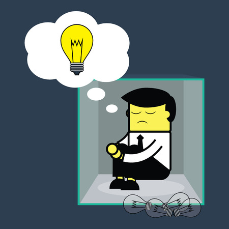 Businessman thinking outside the box. Vector