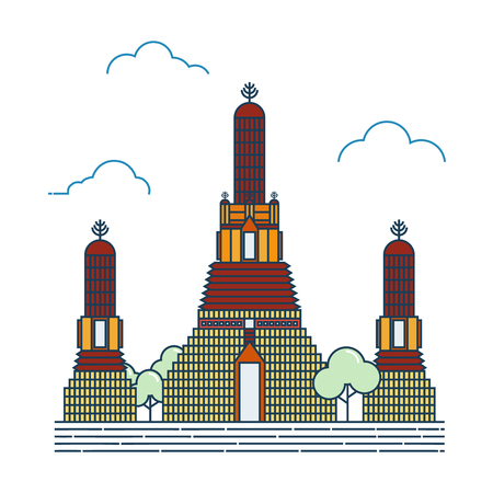wat arun: Vector Illustration of temple of dawn icon, Thailand. Illustration