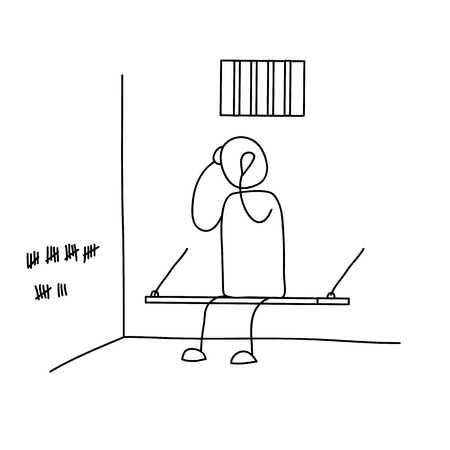penitentiary: Man sitting in prison.